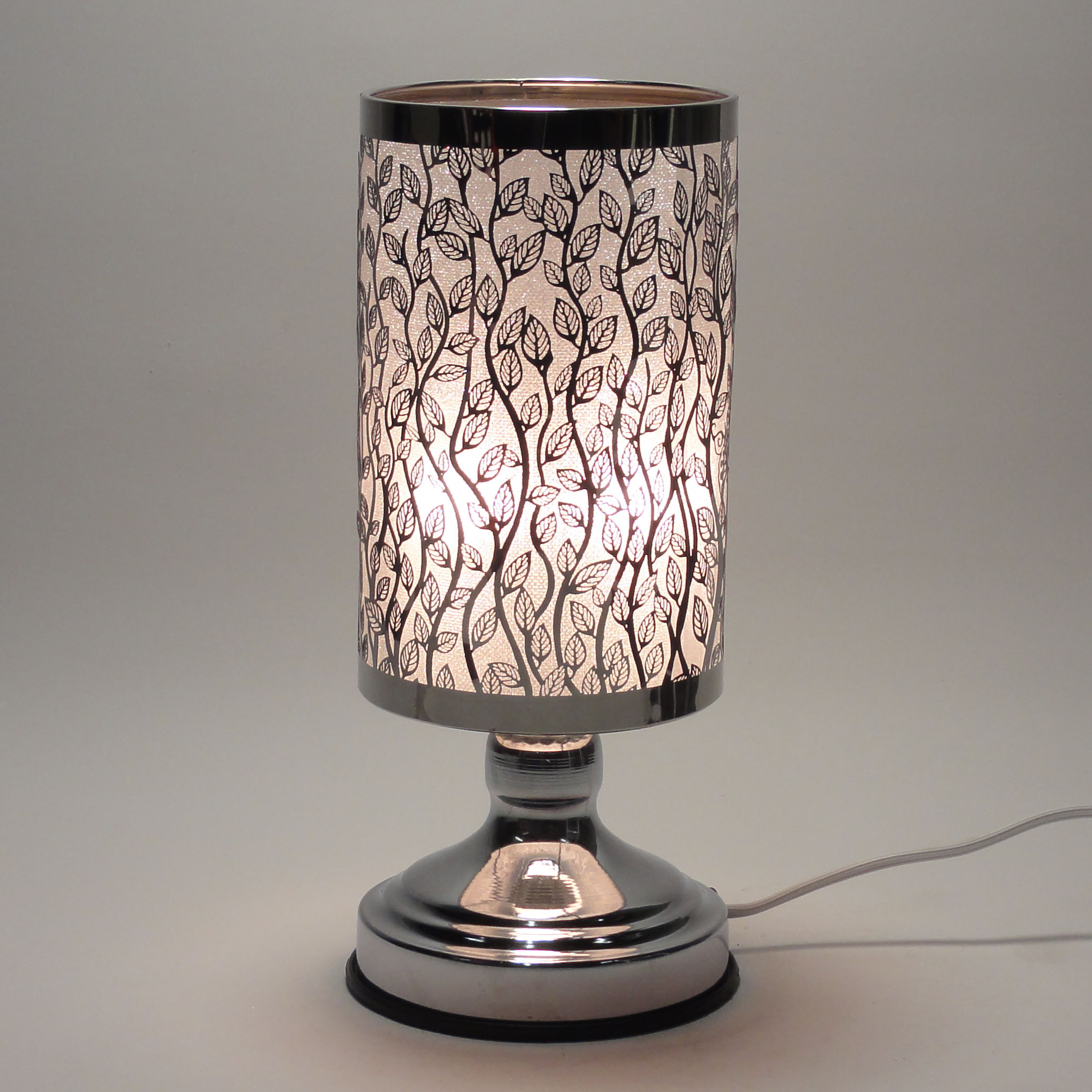 new electric metal silver aroma fragrance oil lamp warmer diffuser touch on off ebay. Black Bedroom Furniture Sets. Home Design Ideas