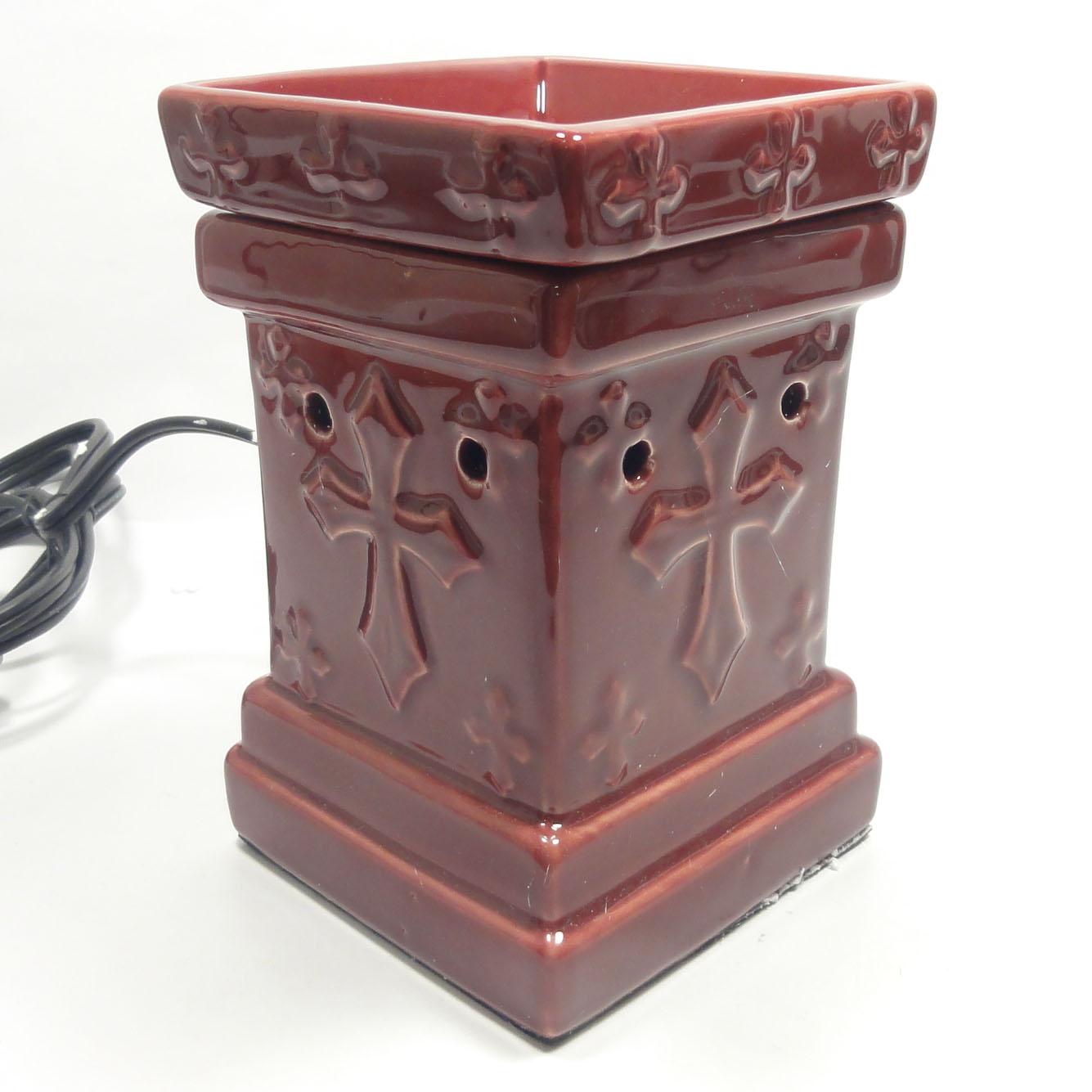 Electric Tart Burners ~ Classic cross ceramic electric scent oil tart lamp burner